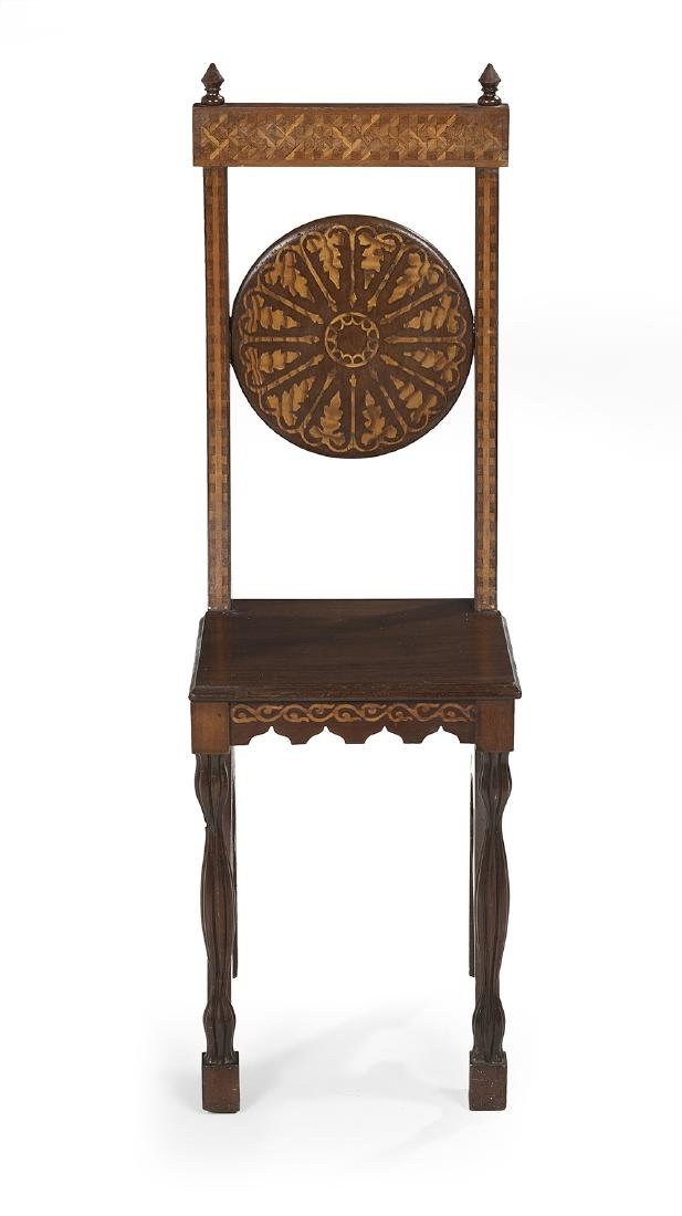 Art Nouveau Marquetry-Inlaid Mahogany Side Chair - 2