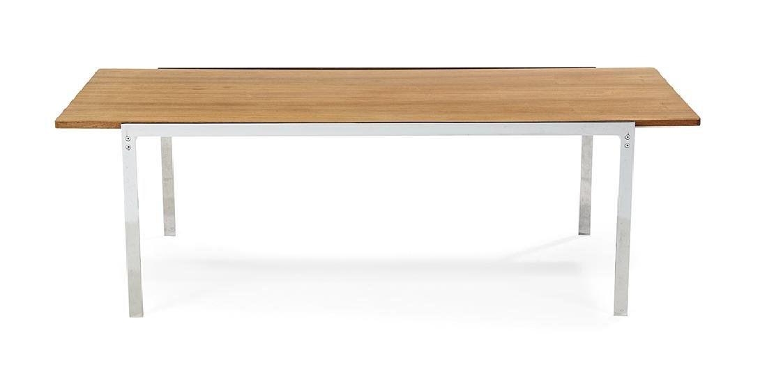 Danish Chrome and Blonde Rosewood Coffee Table