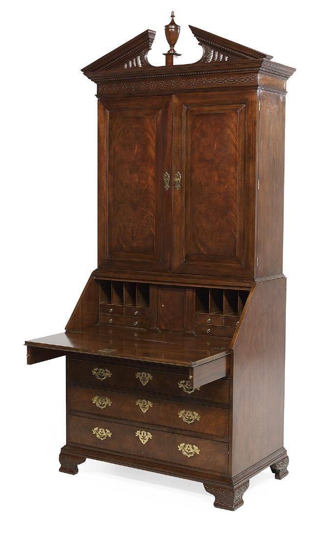 Chippendale-Style Mahogany Secretary Bookcase - 2