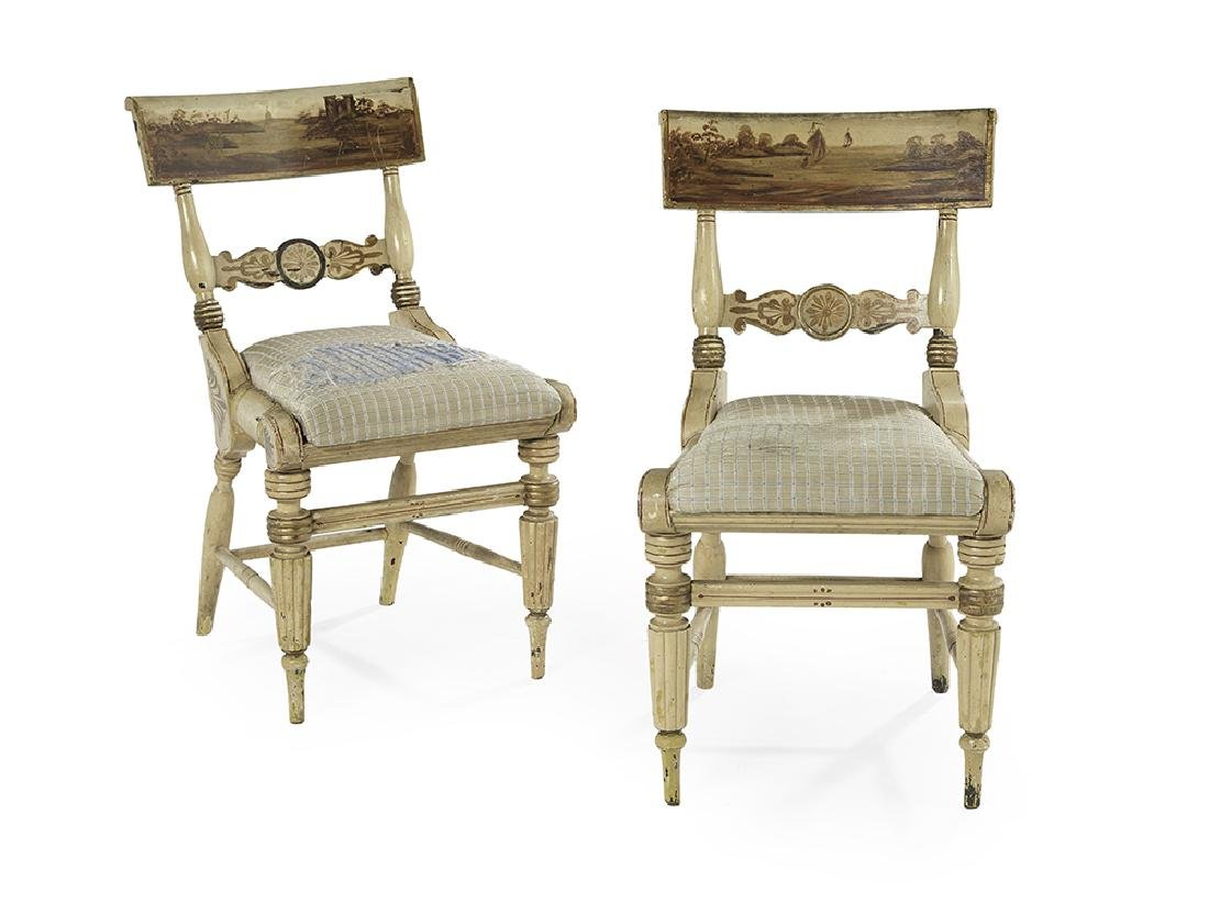 Pair of William IV Polychrome Side Chairs