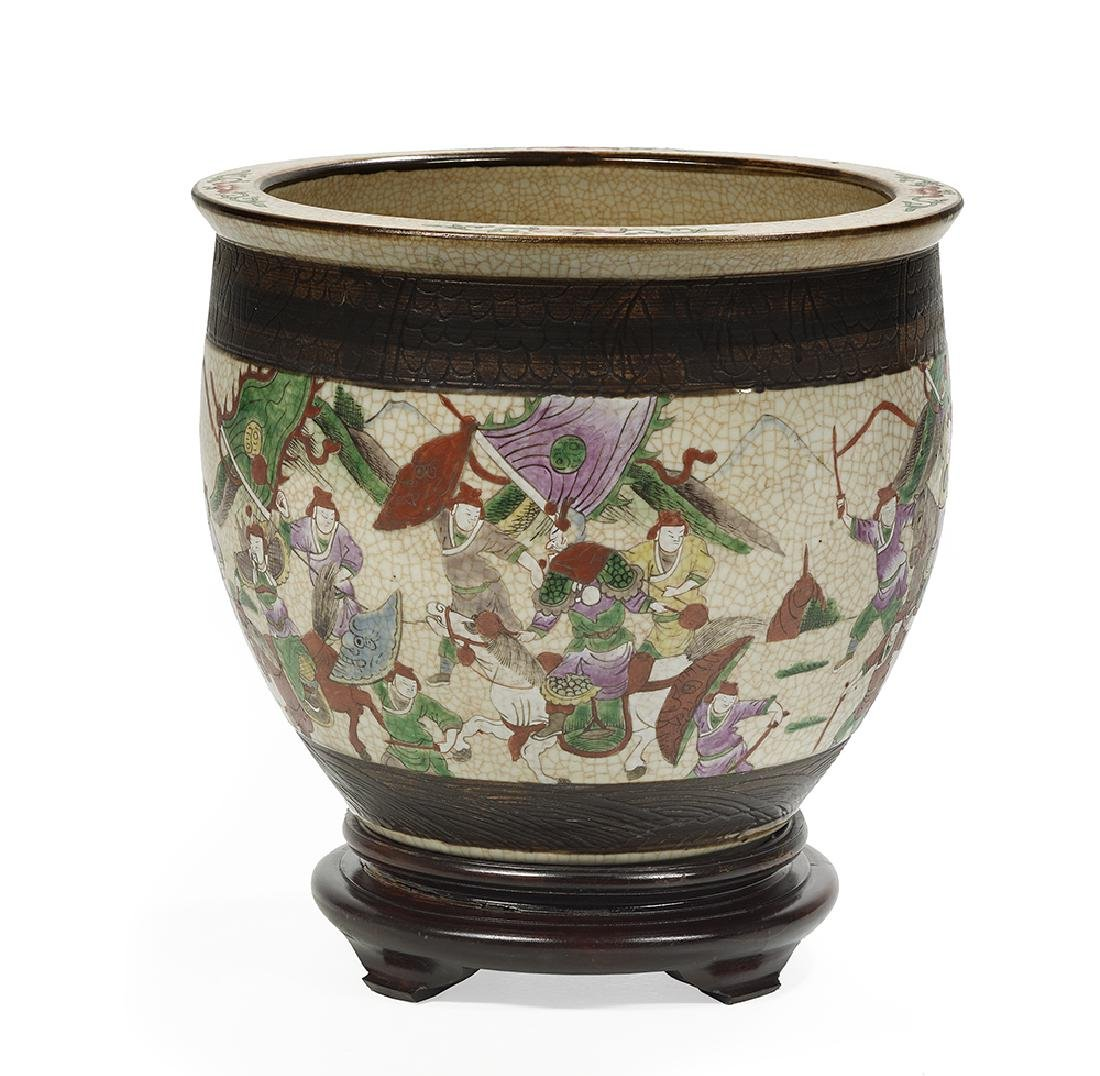Chinese Brown Crackle Glaze Ceramic Planter