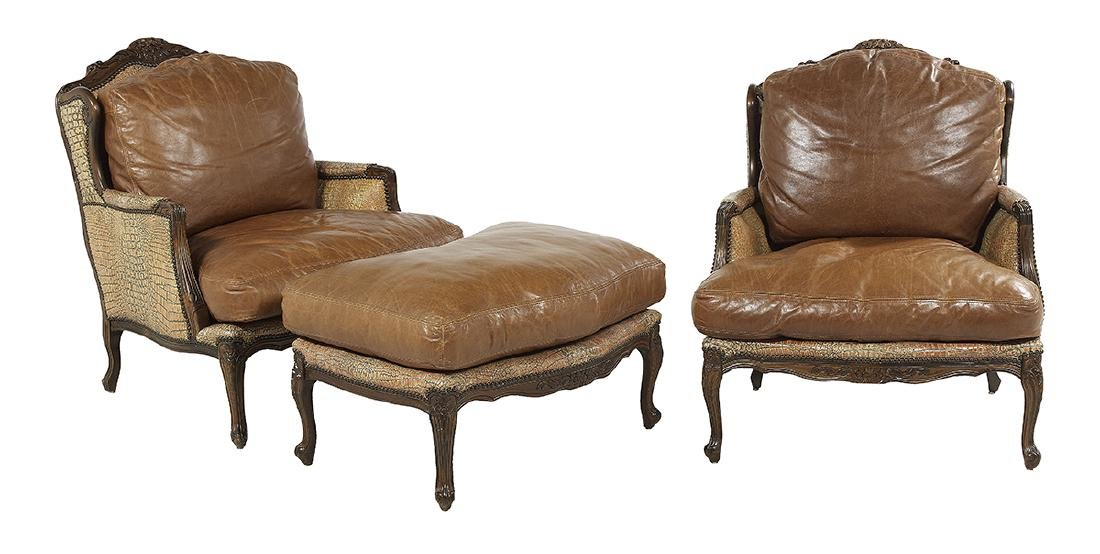 Pair of Louis XV-Style Bergeres and an Ottoman