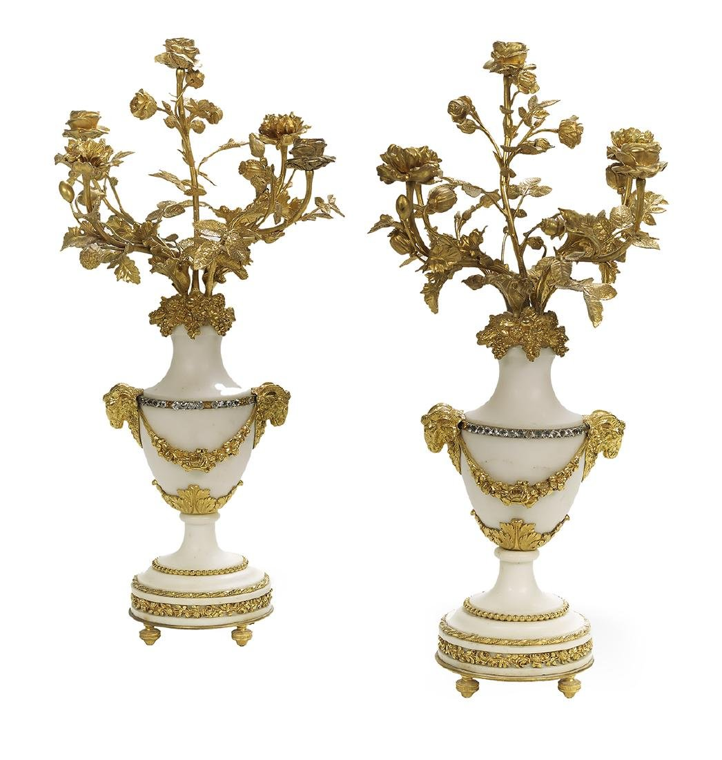 Pair of White Marble and Gilt-Bronze Candelabra