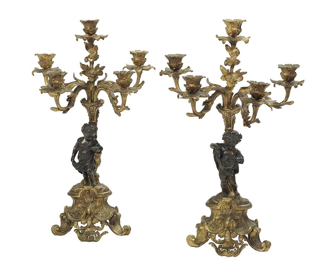 Pair of French Bronze Dore et Patine Candelabra