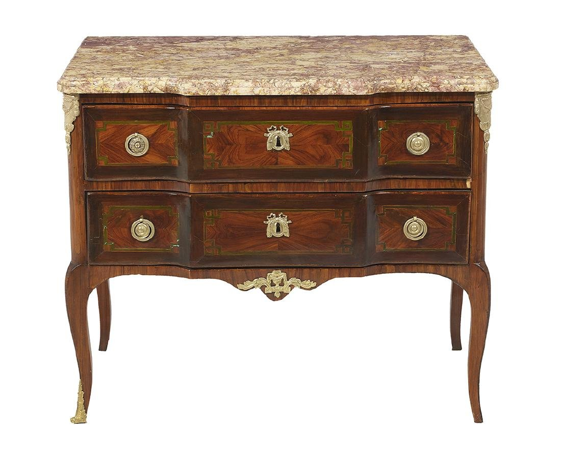 Transitional Louis XV/XVI Marble-Top Commode