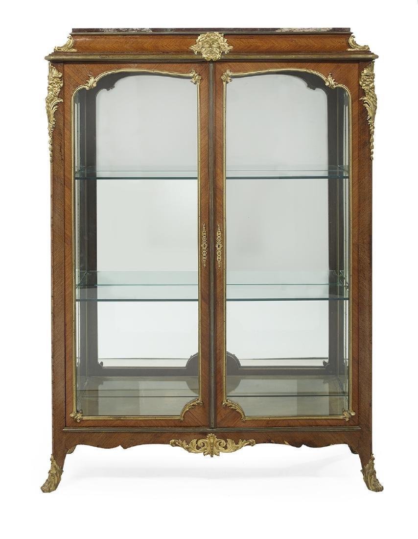 Louis XV/XVI-Style Marble-Top Vitrine