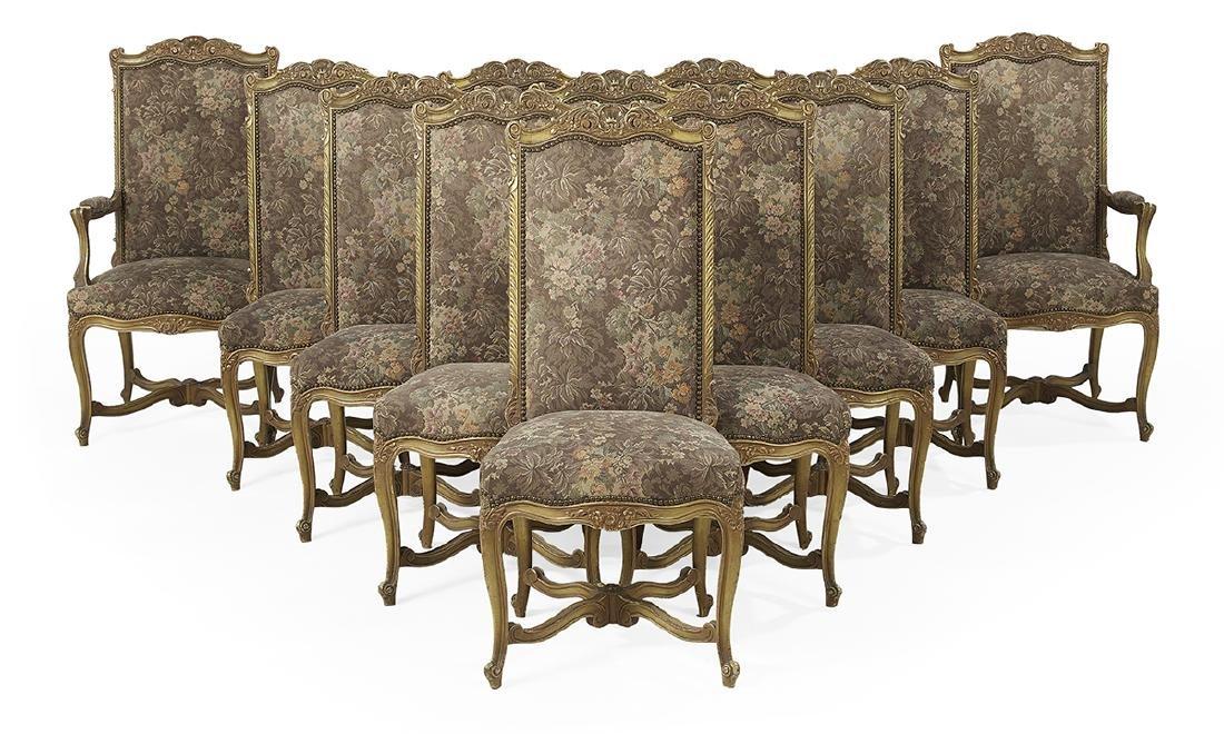 Twelve Louis XV/XVI-Style Dining Chairs