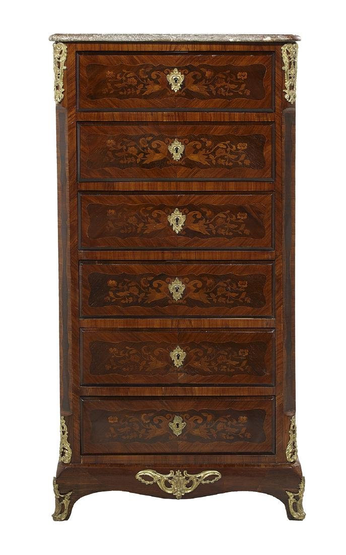 Louis XVI-Style Marble-Top Lingerie Chest