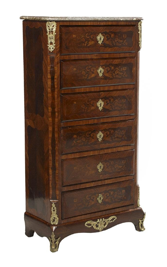 Louis XVI-Style Marble-Top Lingerie Chest - 2