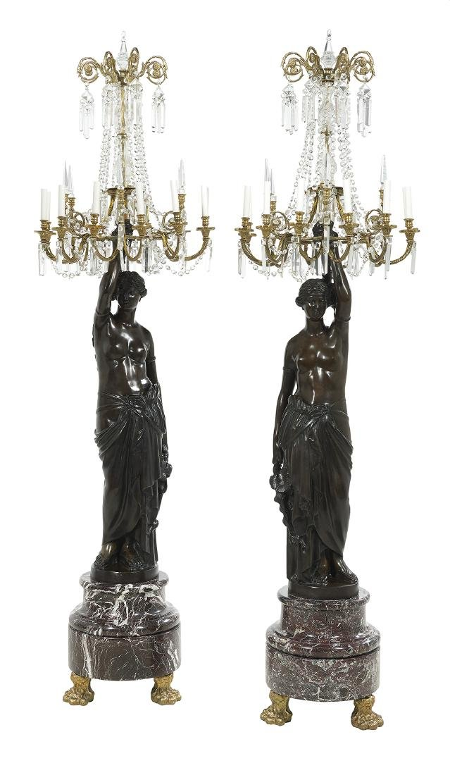 Pair of Bronze, Marble and Crystal Torcheres