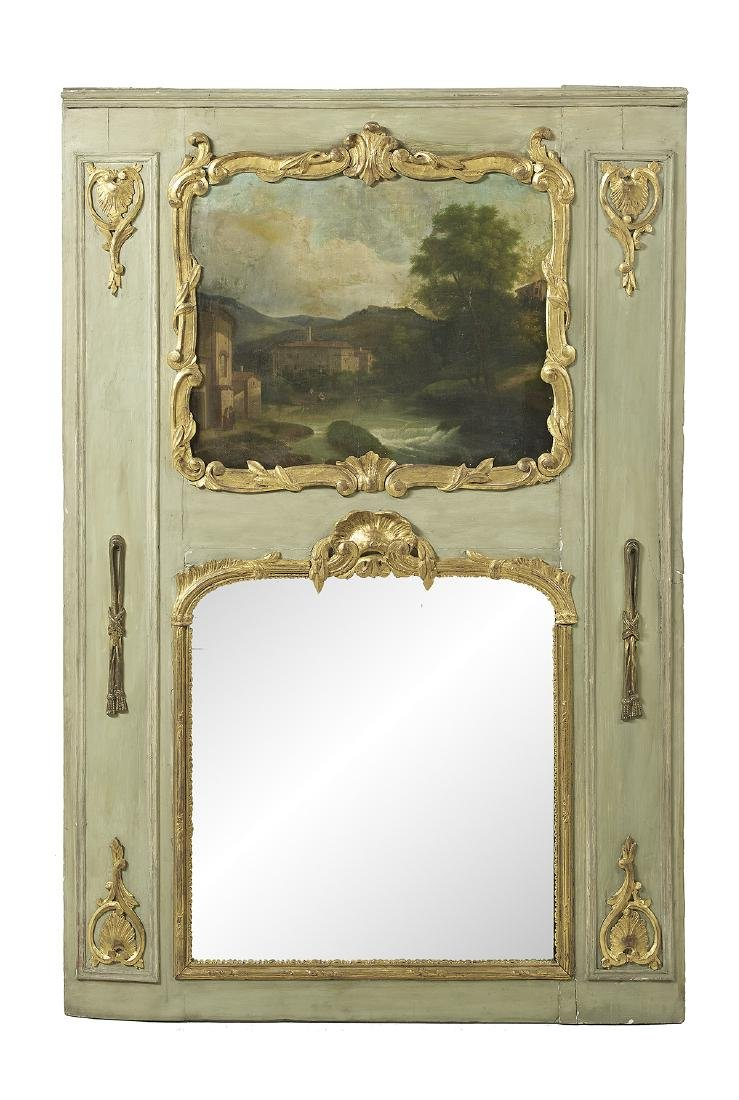 Parcel-Gilt and Oil-on-Canvas Trumeau Mirror
