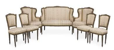 Louis XVIStyle SevenPiece Giltwood Parlor Suite
