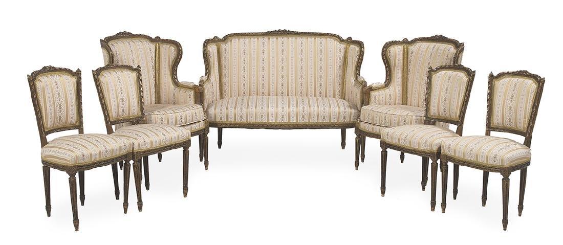 Louis XVI-Style Seven-Piece Giltwood Parlor Suite
