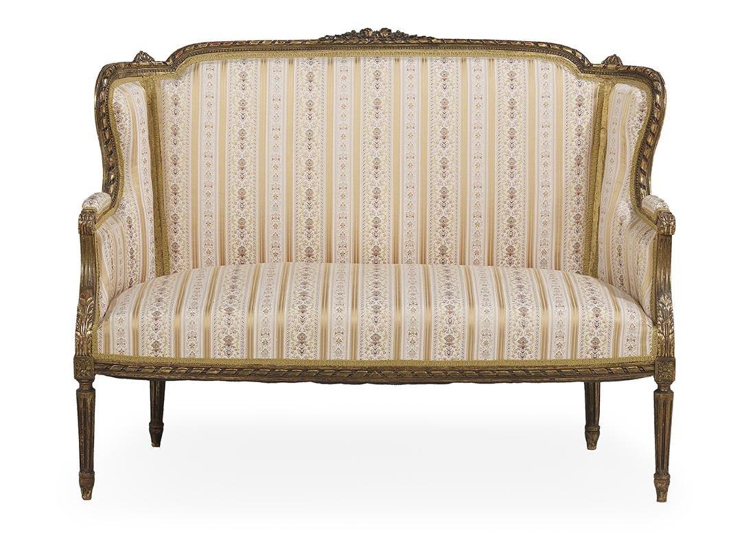 Louis XVI-Style Seven-Piece Giltwood Parlor Suite - 2