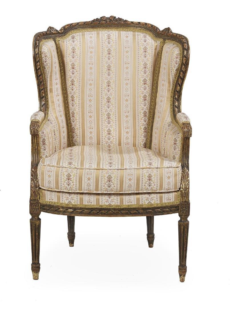 Louis XVI-Style Seven-Piece Giltwood Parlor Suite - 3