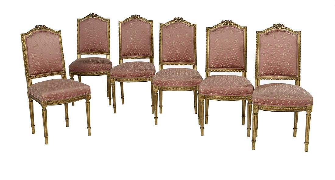 Suite of Six Louis XVI-Style Giltwood Side Chairs
