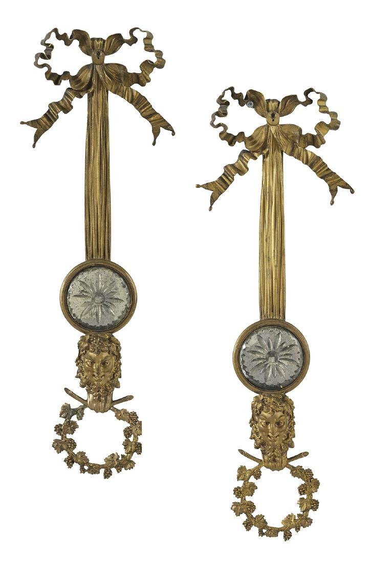 Pair of French Bronze and Crystal Appliques