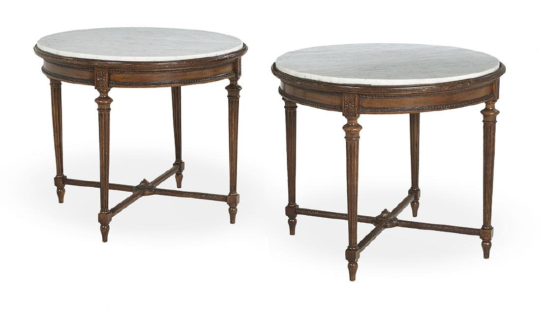 Pair of Louis XVI-Style Marble-Top Center Tables