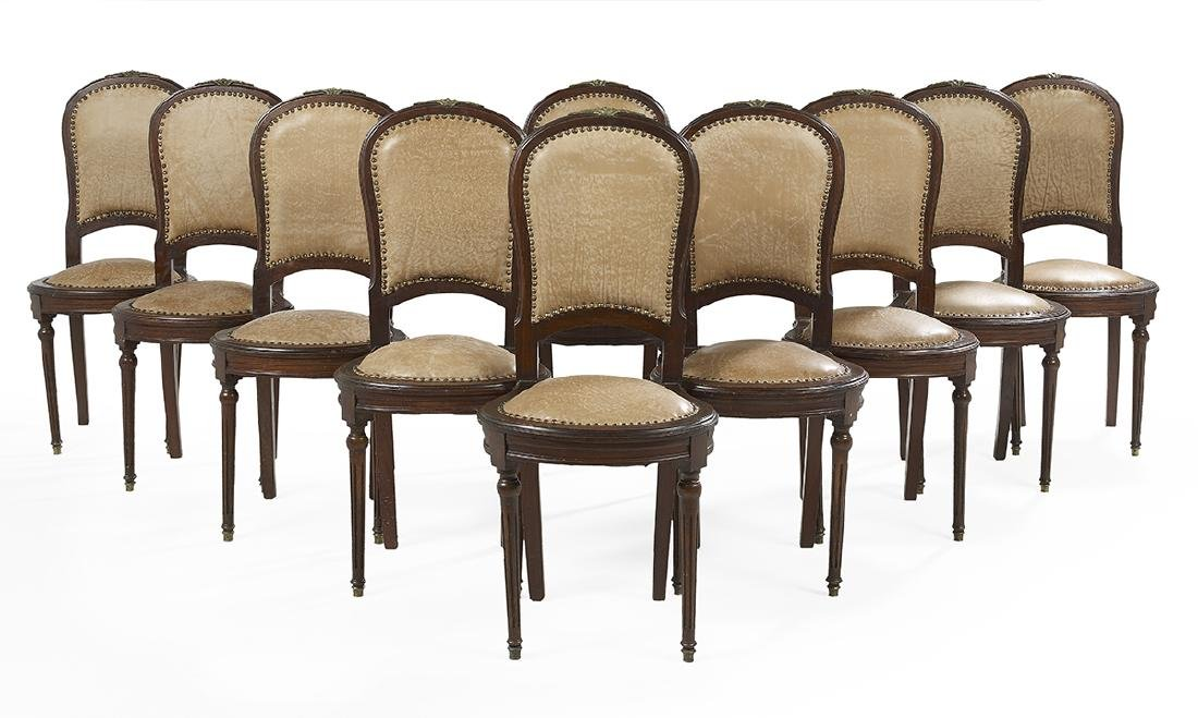 Suite of Ten Louis XVI-Style Mahogany Side Chairs