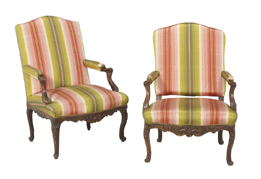 Pair of Louis XV Carved Beechwood Fauteuils