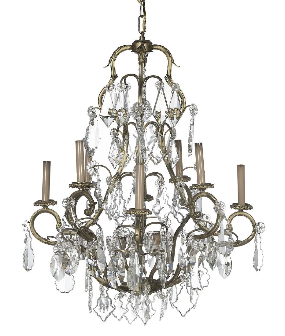 Louis XIV-Style Bronze and Crystal Chandelier