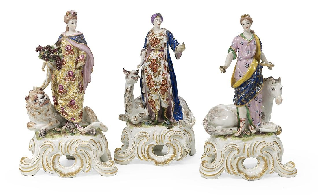 """Three Porcelain Figures of """"The Continents"""""""