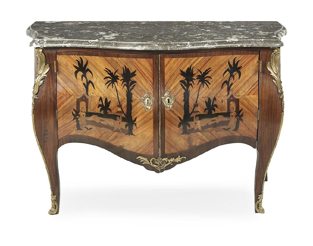 Regence-Style Kingwood and Marble-Top Commode