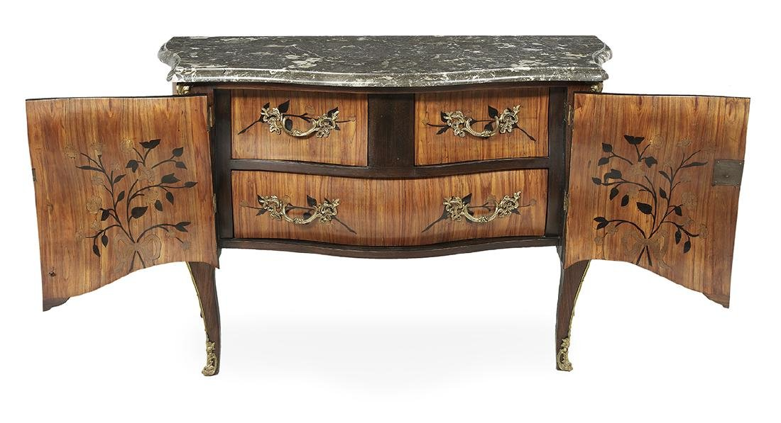 Regence-Style Kingwood and Marble-Top Commode - 2