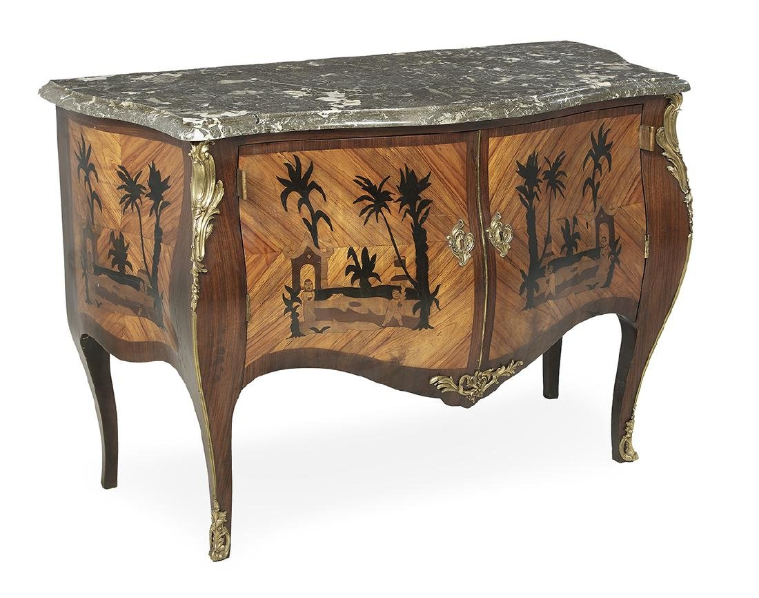 Regence-Style Kingwood and Marble-Top Commode - 3