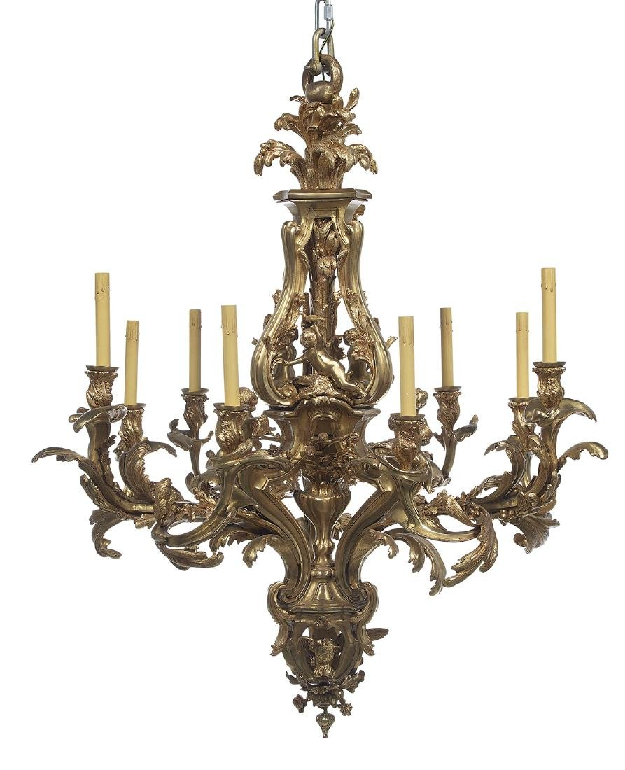 French Gilt-Bronze Louis XV-Style Chandelier