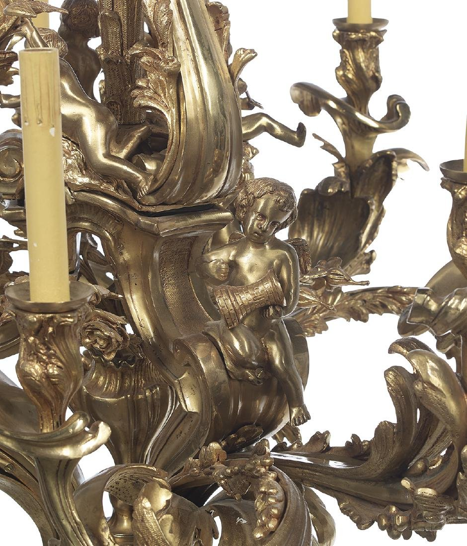 French Gilt-Bronze Louis XV-Style Chandelier - 3