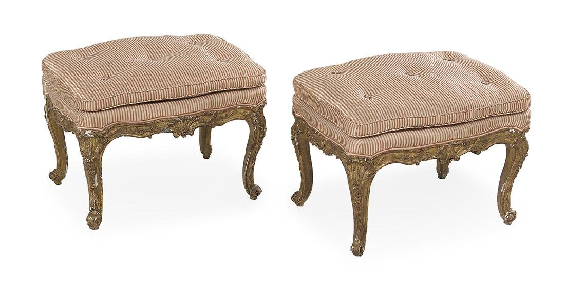 Pair of Louis XV Giltwood Stools