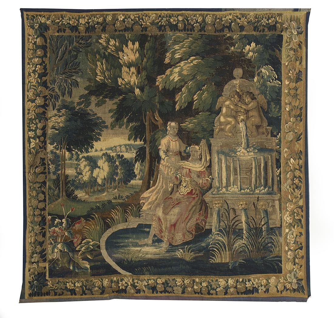 Aubusson Tapestry of Figures by a Fountain