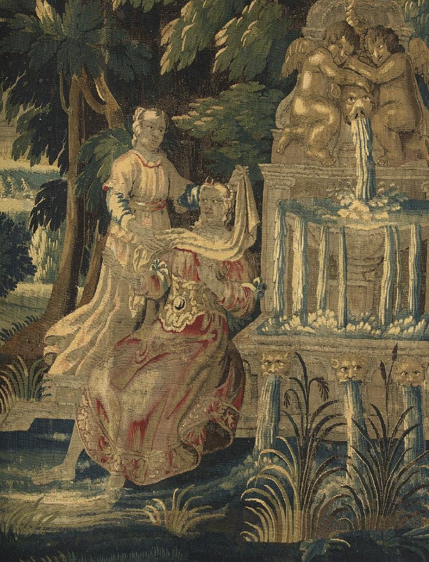 Aubusson Tapestry of Figures by a Fountain - 2