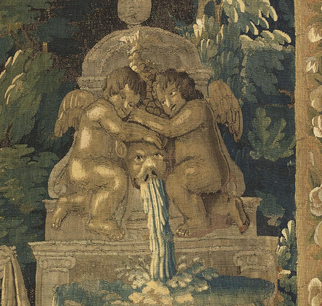Aubusson Tapestry of Figures by a Fountain - 3