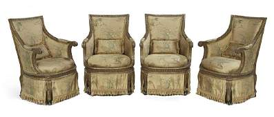 Suite of Four Louis XVIStyle Giltwood Bergeres