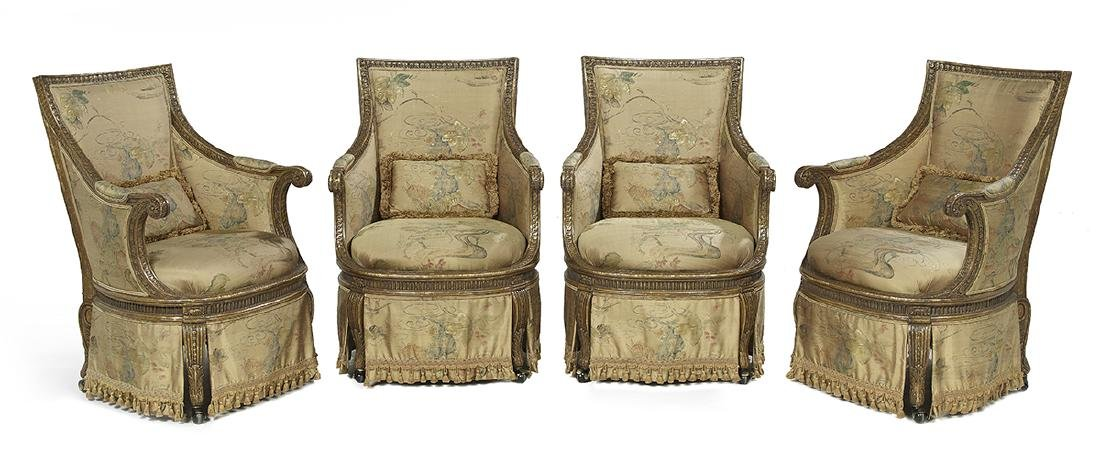 Suite of Four Louis XVI-Style Giltwood Bergeres