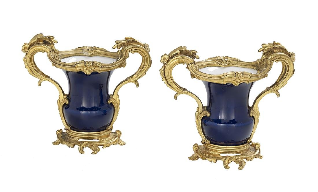 Pair of Louis XV-Style Bronze-Mounted Vases