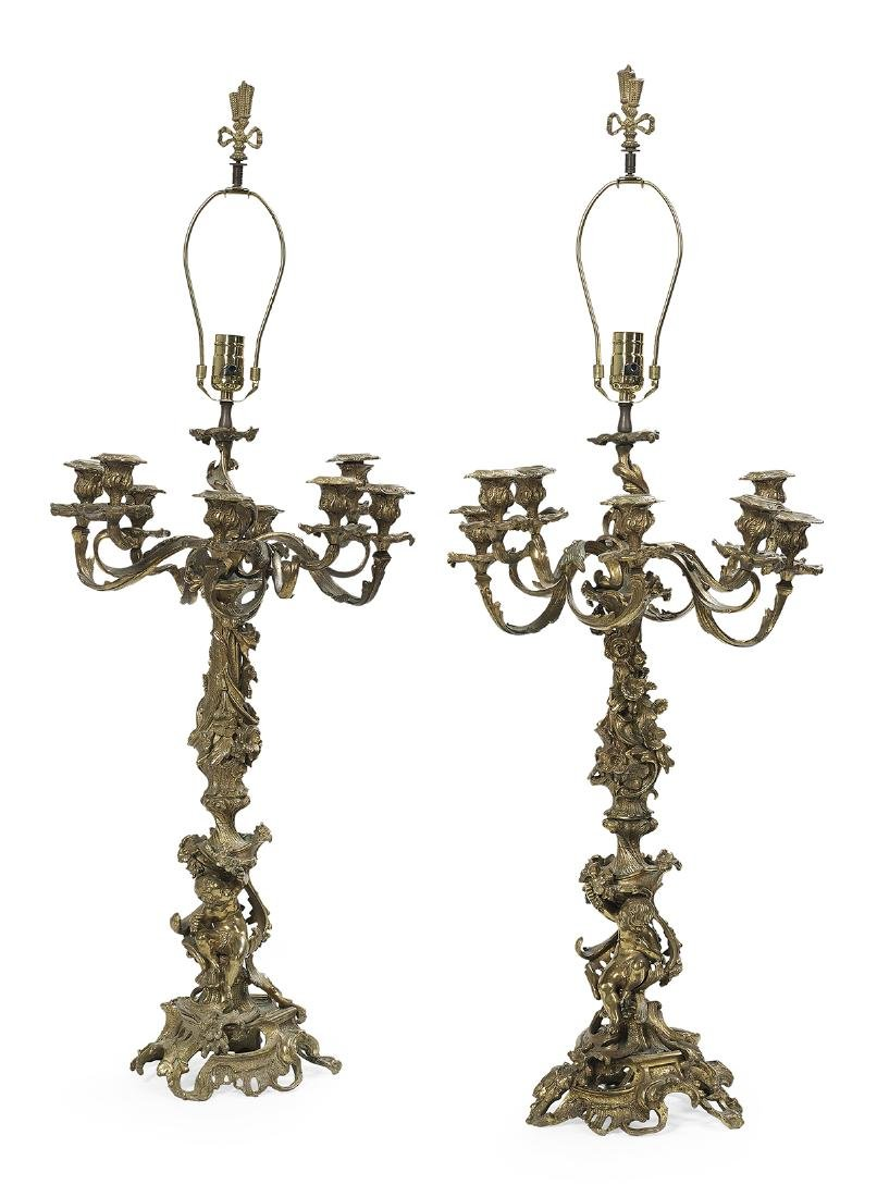 Pair of French Rococo-Style Bronze Candelabra