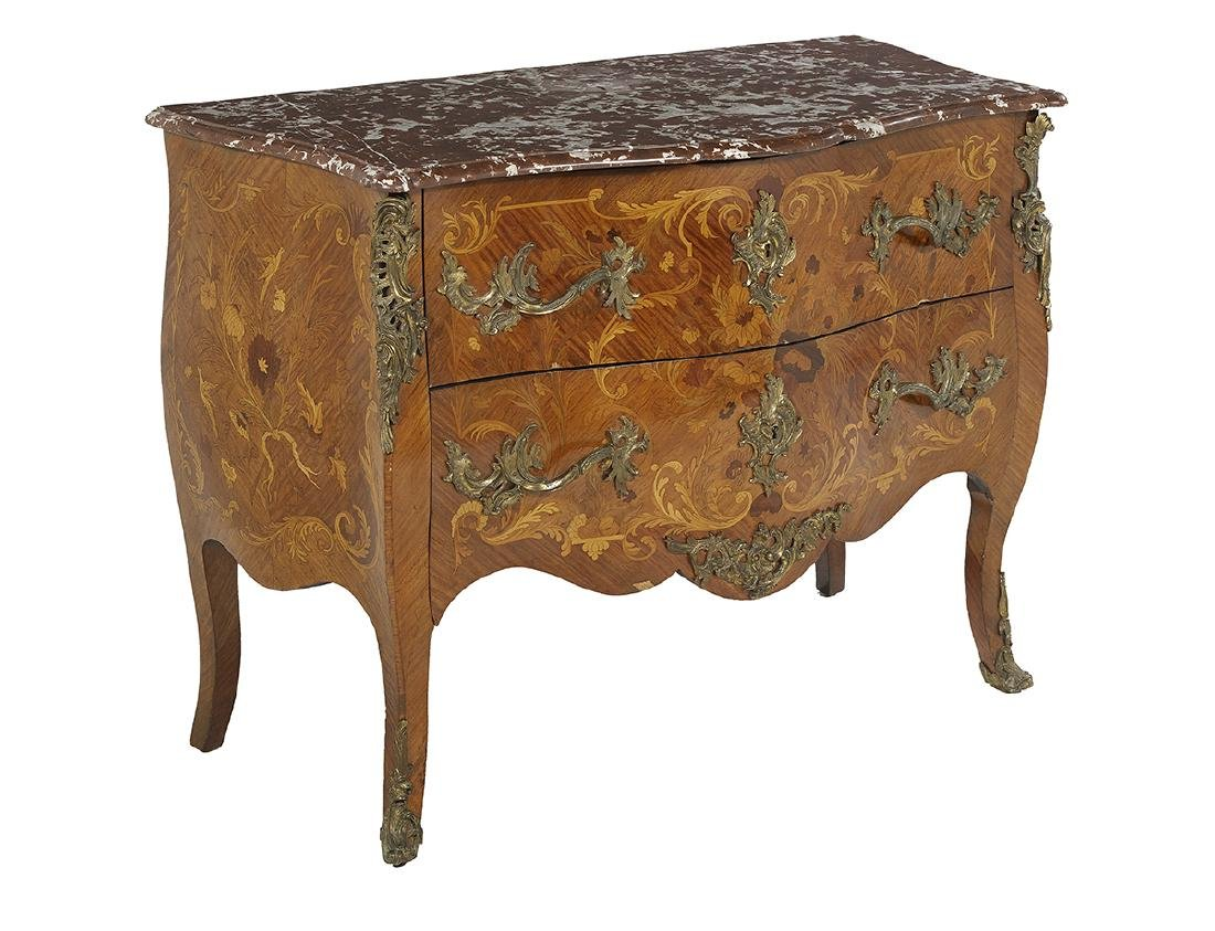 Regence-Style Mixed Woods Marble-Top Commode - 2