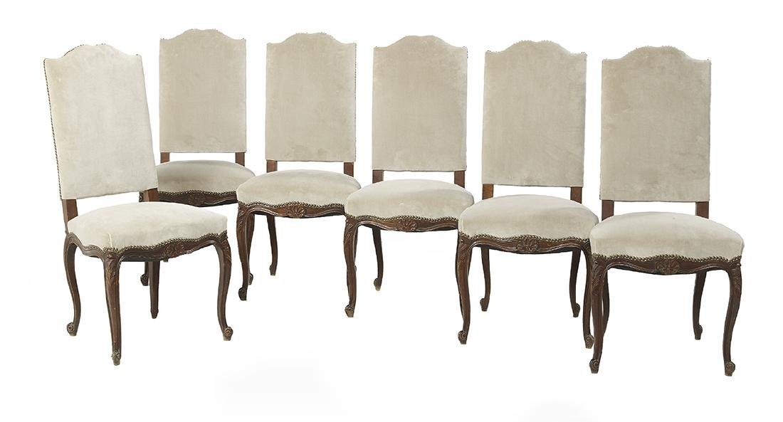 Suite of Six Louis XV-Style Mahogany Side Chairs