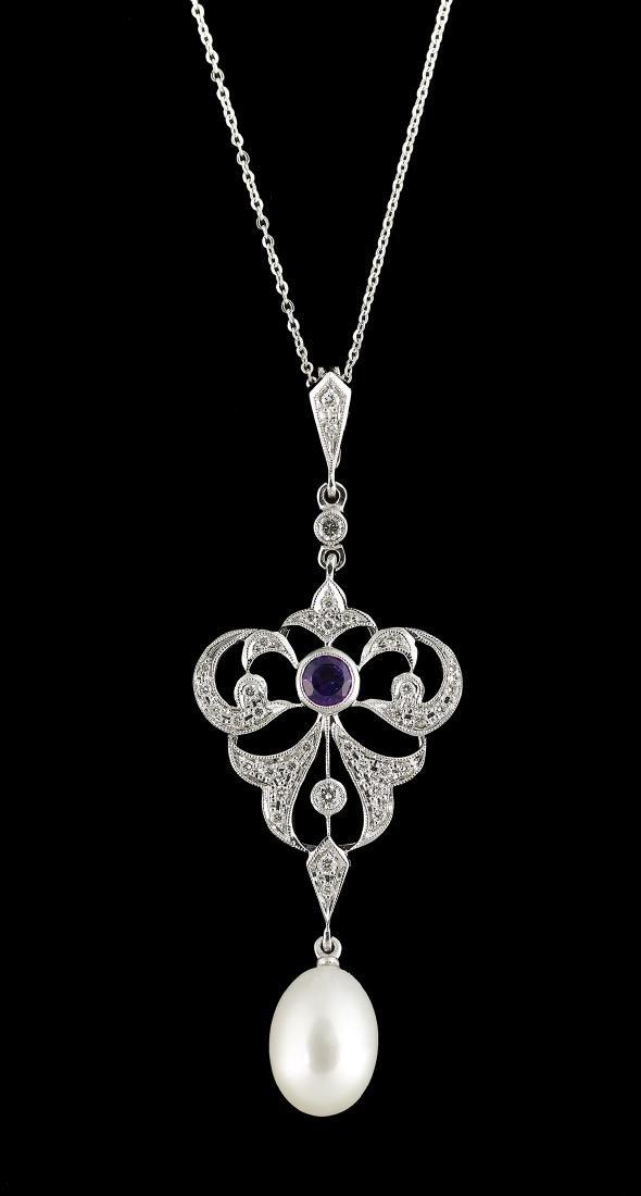 Pearl, Diamond and Amethyst Pendant on Chain