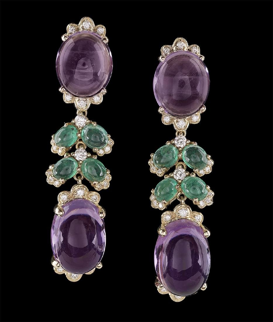 Amethyst, Emerald and Diamond Earrings