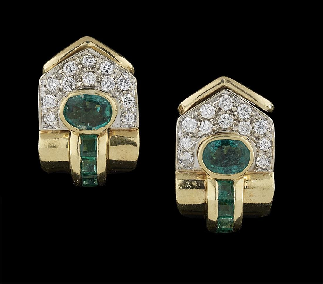 Pair of Emerald and Diamond Earrings