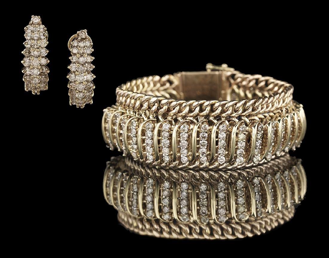Wide Diamond Bracelet and Earrings