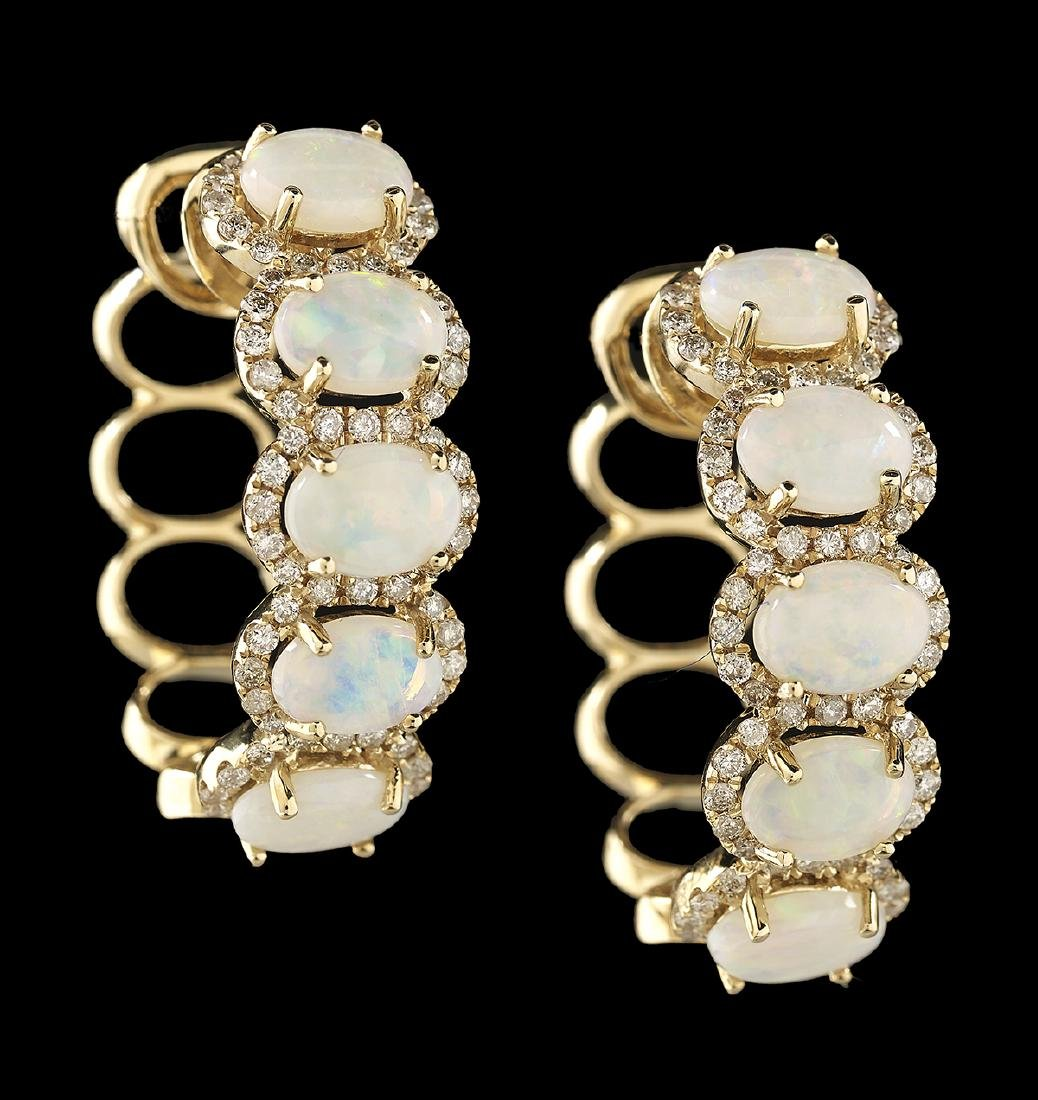 Opal and Diamond Hoop Earrings