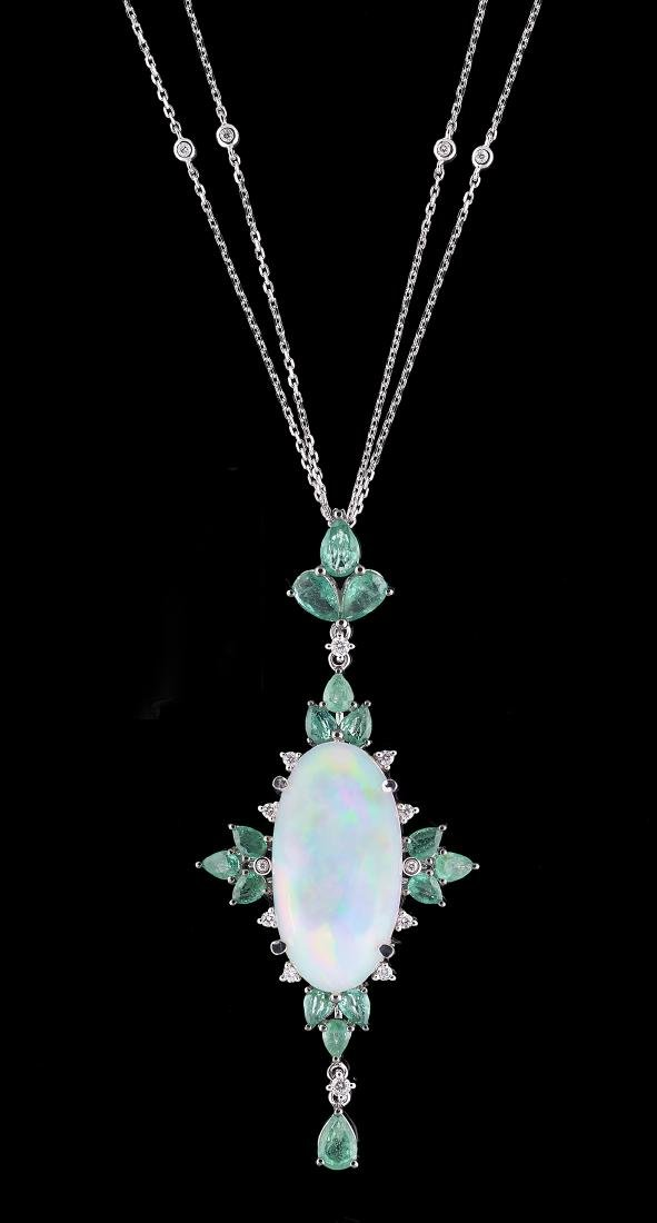 Opal, Emerald and Diamond Pendant with Chain