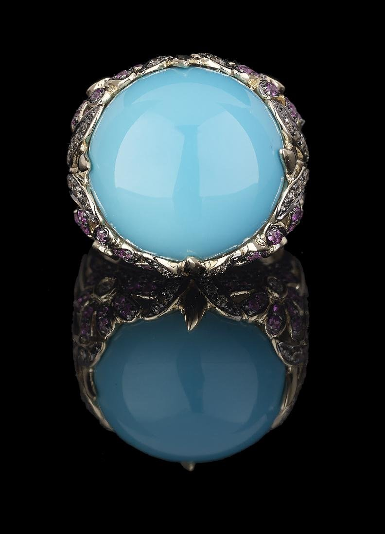 Turquoise, Pink Sapphire and Diamond Ring