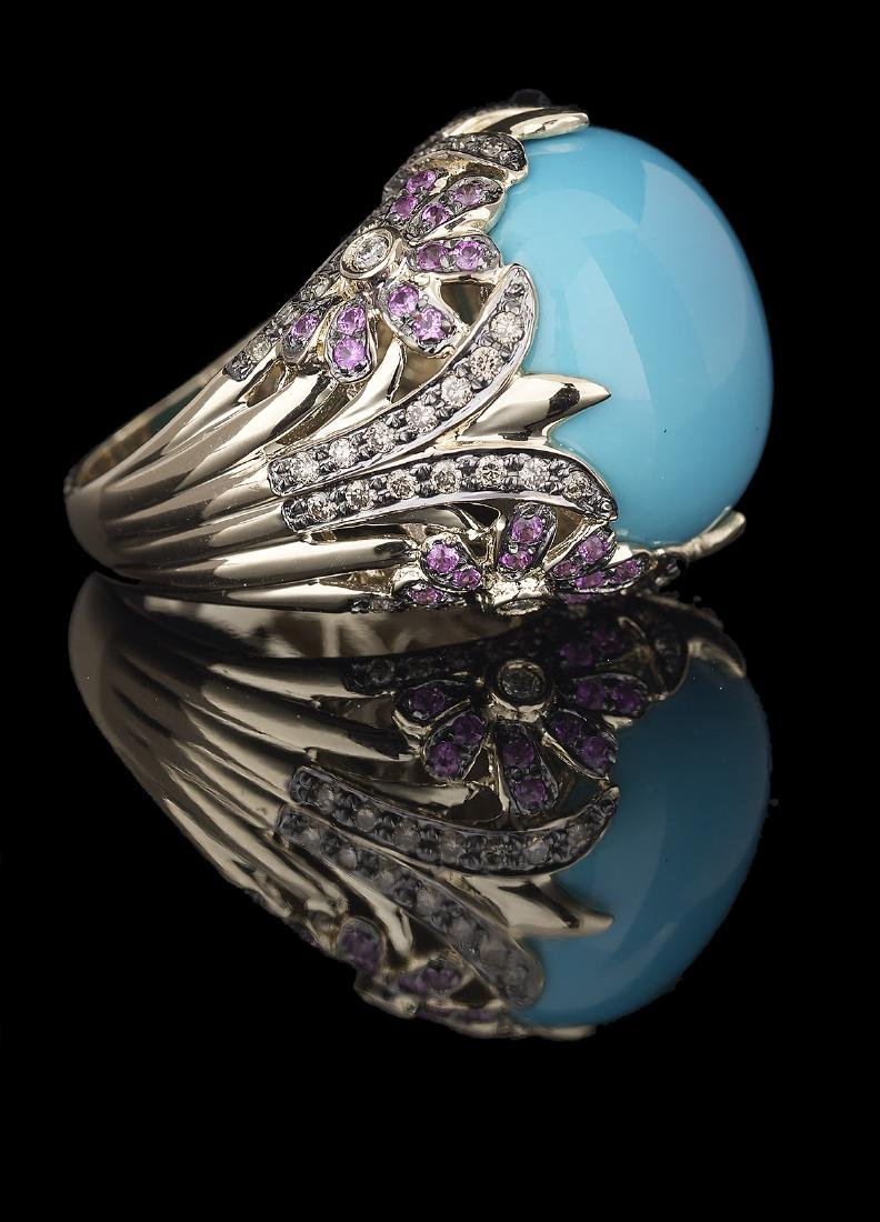 Turquoise, Pink Sapphire and Diamond Ring - 2