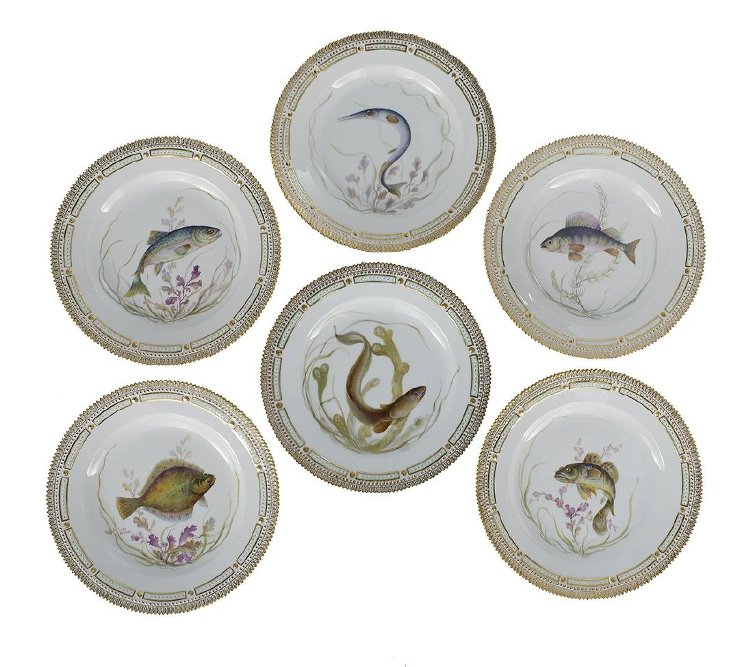"Six ""Flora Danica"" Fish Dinner Plates"